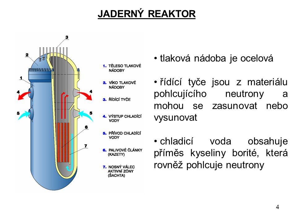 JADERNÝ REAKTOR tlaková nádoba je ocelová. řídící tyče jsou z materiálu pohlcujícího neutrony a mohou se zasunovat nebo vysunovat.