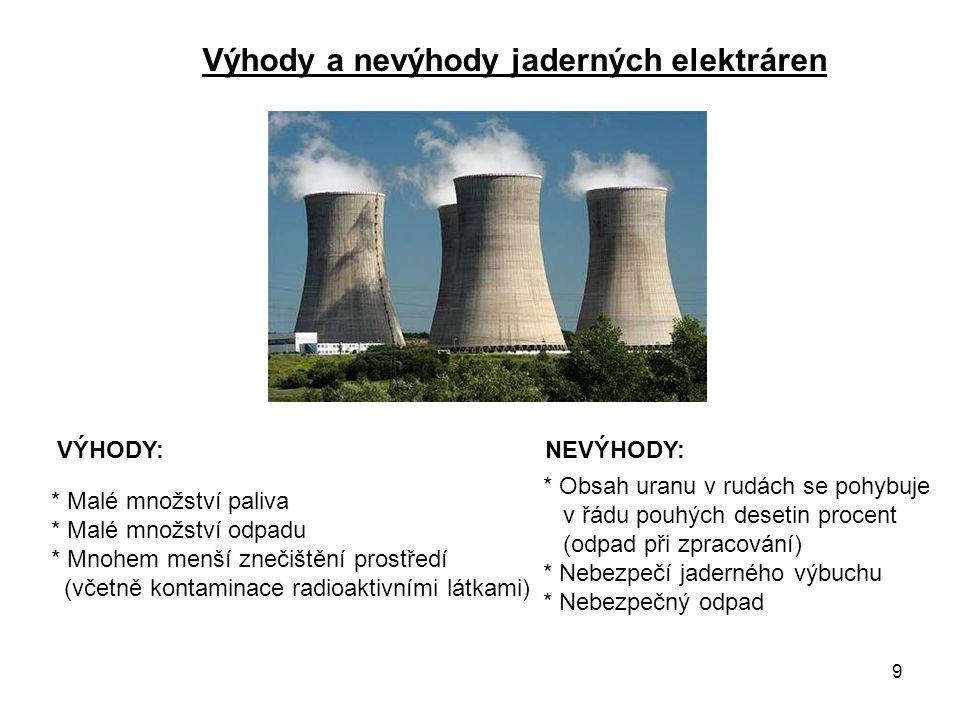 Výhody a nevýhody jaderných elektráren