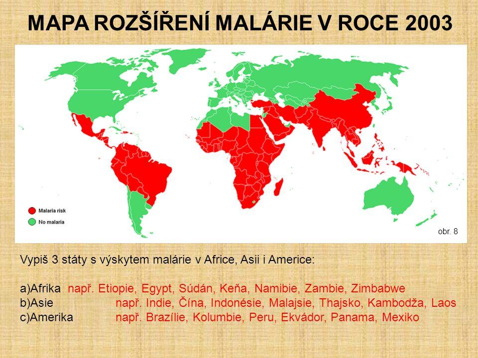 MAPA ROZŠÍŘENÍ MALÁRIE V ROCE 2003