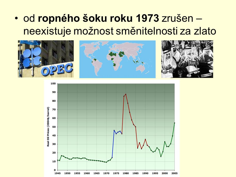 od ropného šoku roku 1973 zrušen – neexistuje možnost směnitelnosti za zlato