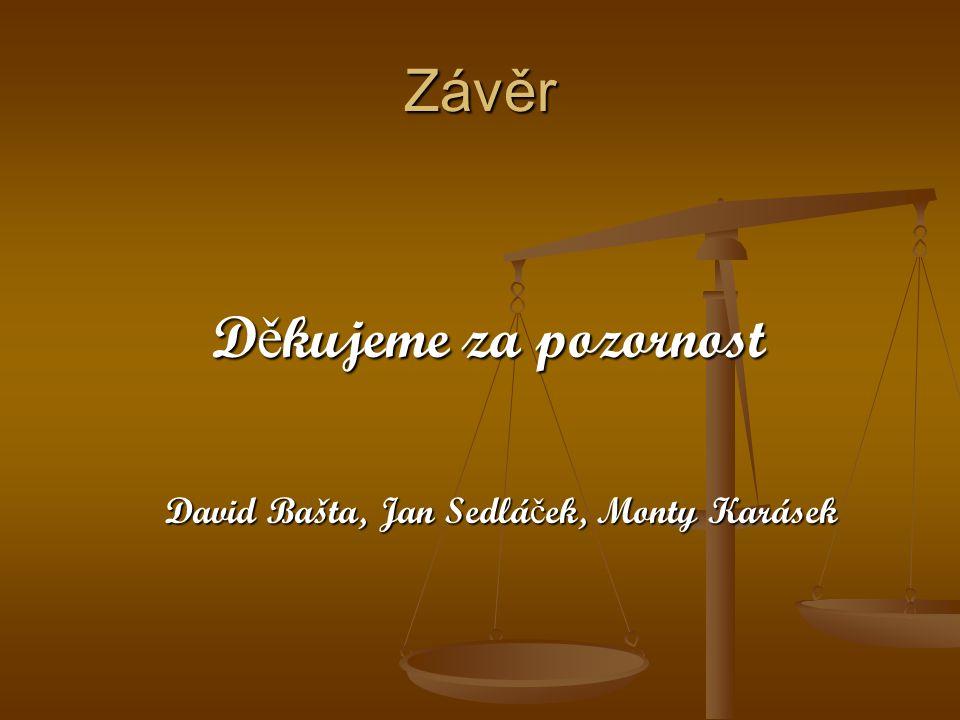 Závěr Děkujeme za pozornost David Bašta, Jan Sedláček, Monty Karásek