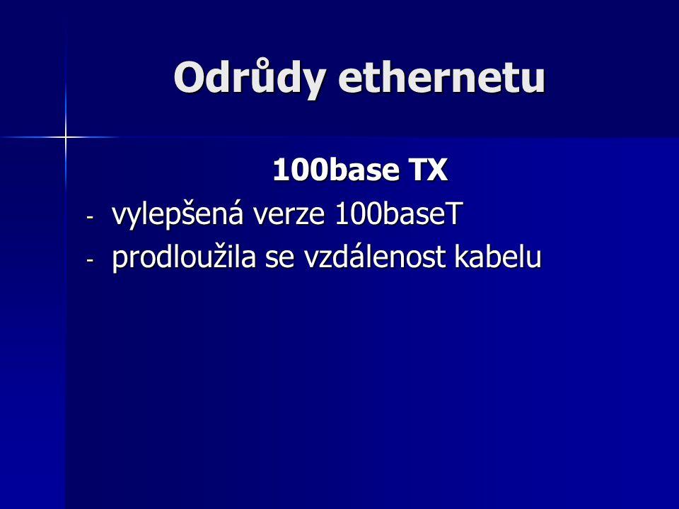 Odrůdy ethernetu 100base TX vylepšená verze 100baseT