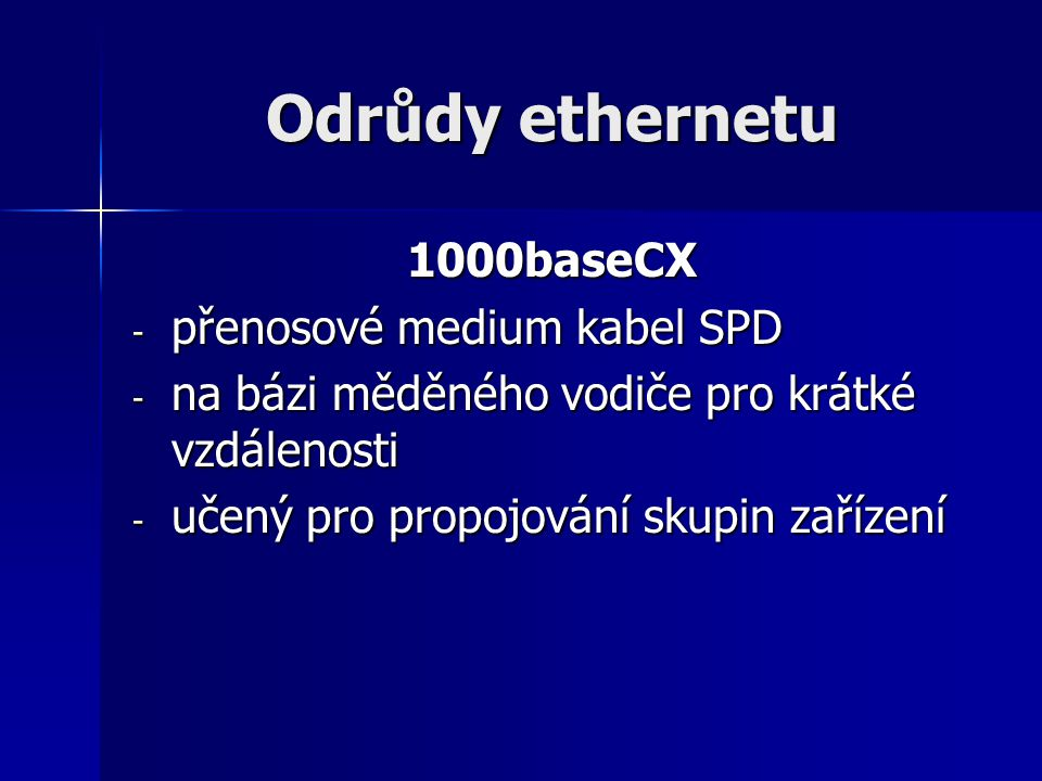 Odrůdy ethernetu 1000baseCX přenosové medium kabel SPD