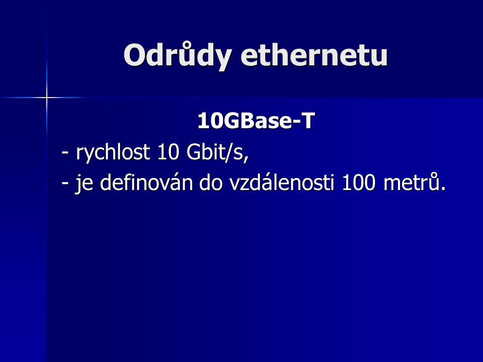 Odrůdy ethernetu 10GBase-T - rychlost 10 Gbit/s,