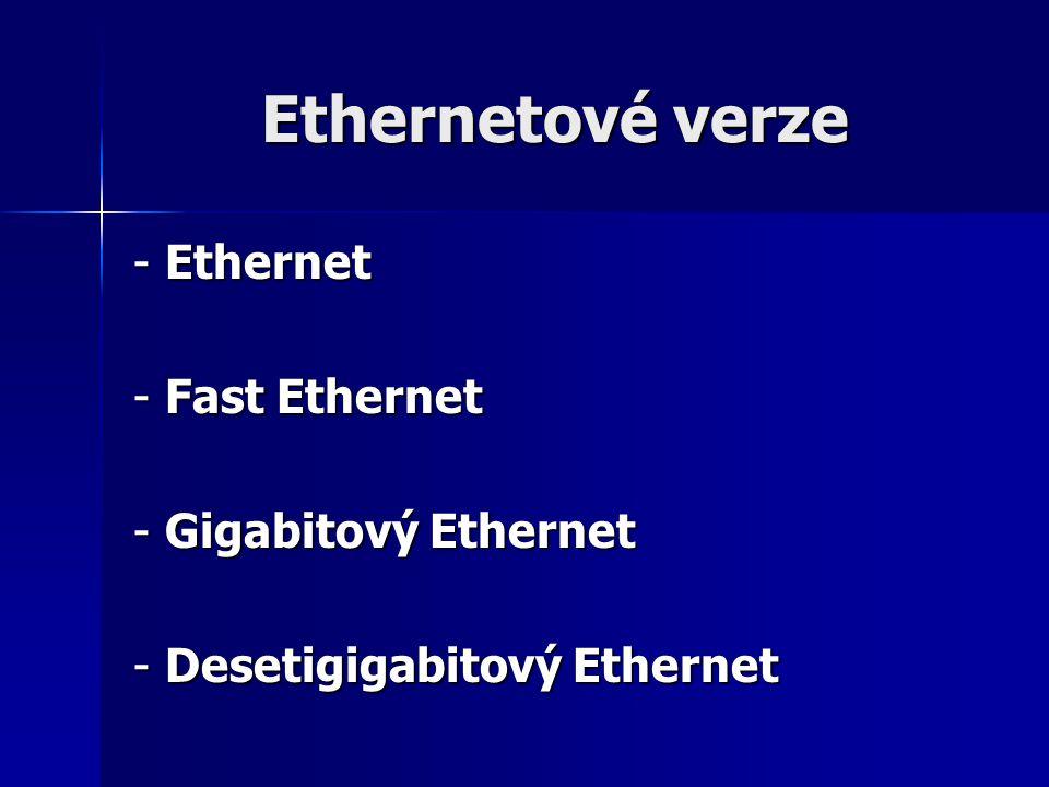 Ethernetové verze - Ethernet - Fast Ethernet - Gigabitový Ethernet