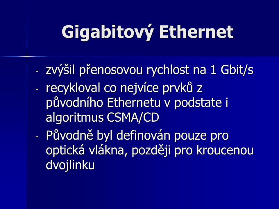 Gigabitový Ethernet zvýšil přenosovou rychlost na 1 Gbit/s