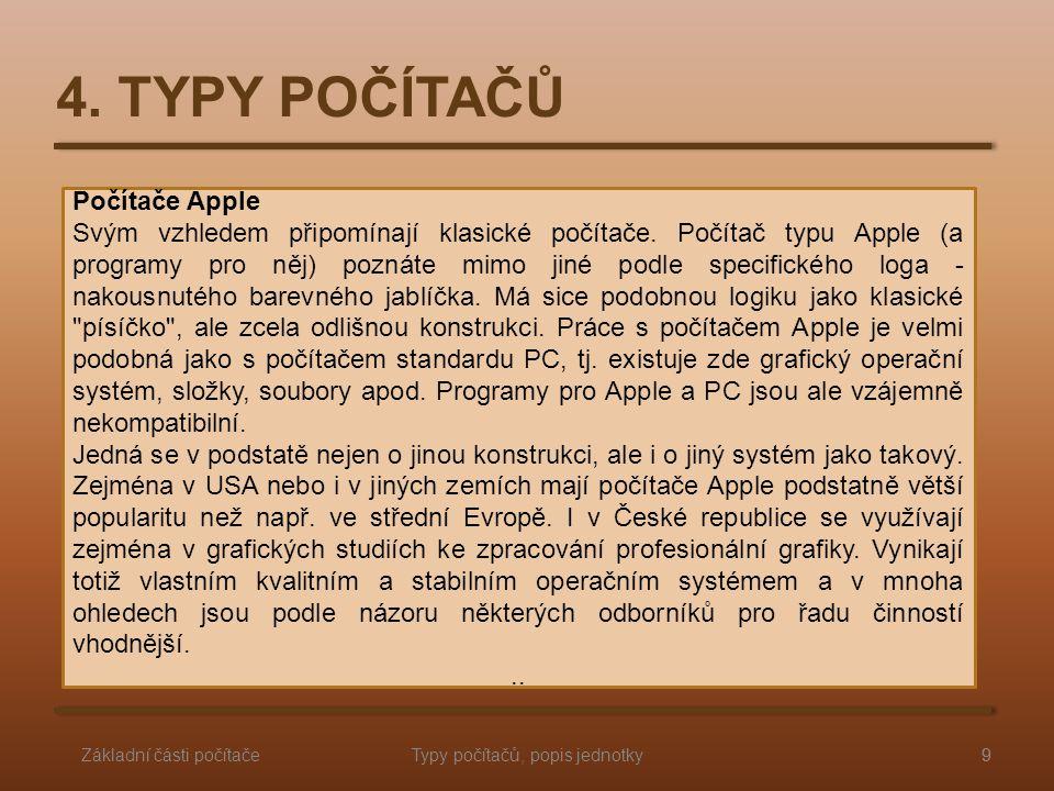 Typy počítačů, popis jednotky