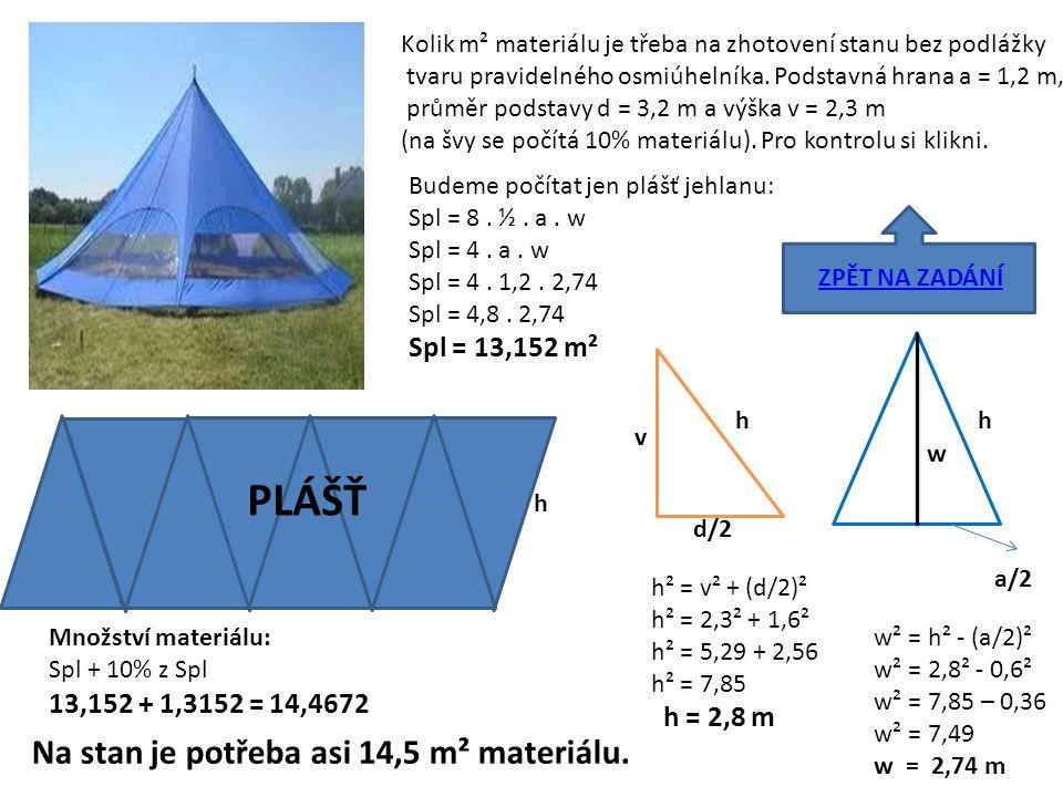 PLÁŠŤ Na stan je potřeba asi 14,5 m² materiálu. Spl = 13,152 m²
