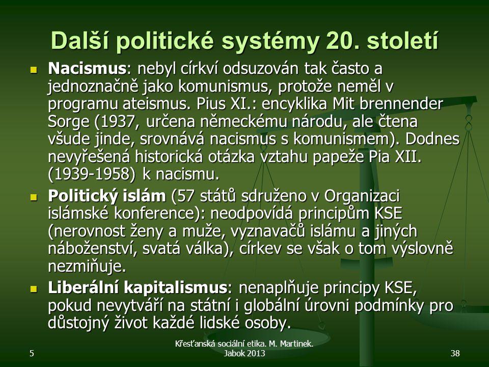 Další politické systémy 20. století