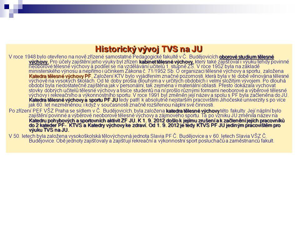 Historický vývoj TVS na JU