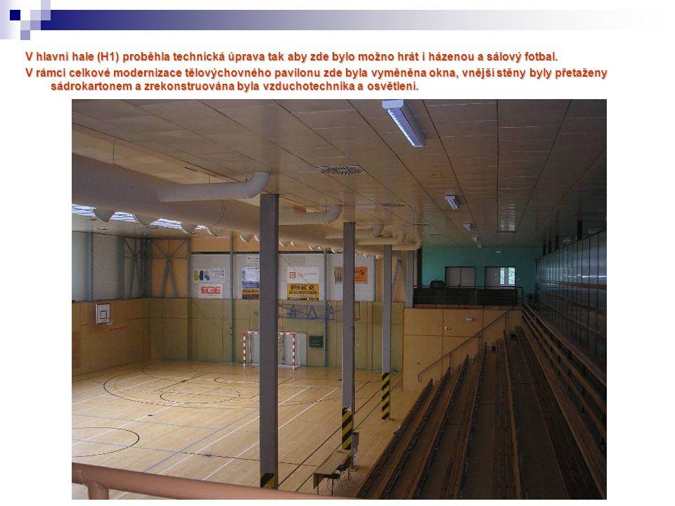 V hlavní hale (H1) proběhla technická úprava tak aby zde bylo možno hrát i házenou a sálový fotbal.