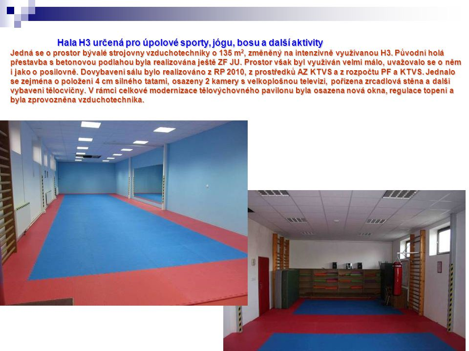 Hala H3 určená pro úpolové sporty, jógu, bosu a další aktivity Jedná se o prostor bývalé strojovny vzduchotechniky o 135 m2, změněný na intenzivně využívanou H3.