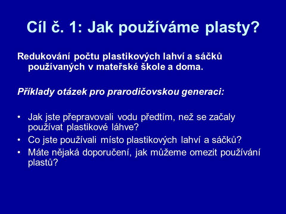 Cíl č. 1: Jak používáme plasty