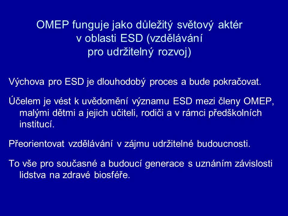 OMEP funguje jako důležitý světový aktér v oblasti ESD (vzdělávání pro udržitelný rozvoj)