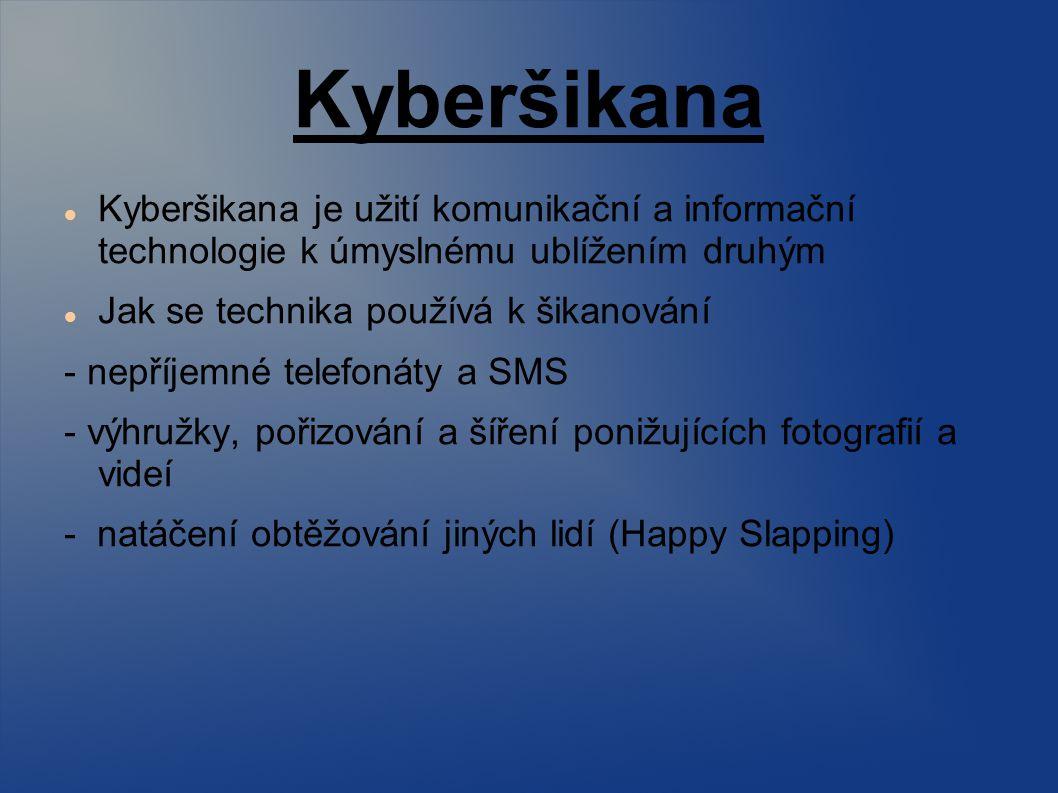 Kyberšikana Kyberšikana je užití komunikační a informační technologie k úmyslnému ublížením druhým.