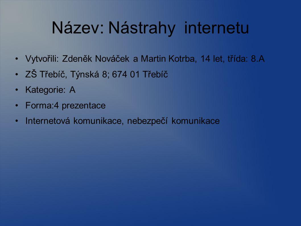 Název: Nástrahy internetu