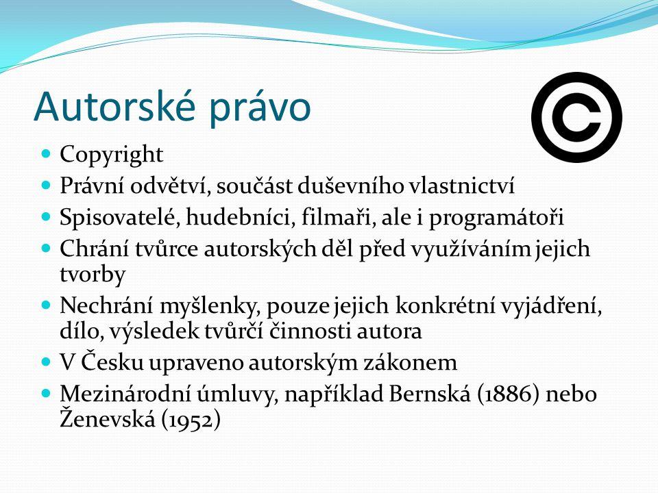 Autorské právo Copyright Právní odvětví, součást duševního vlastnictví