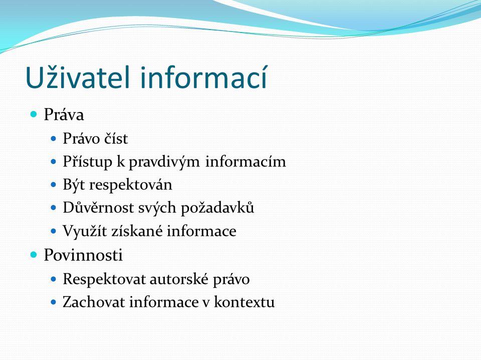 Uživatel informací Práva Povinnosti Právo číst