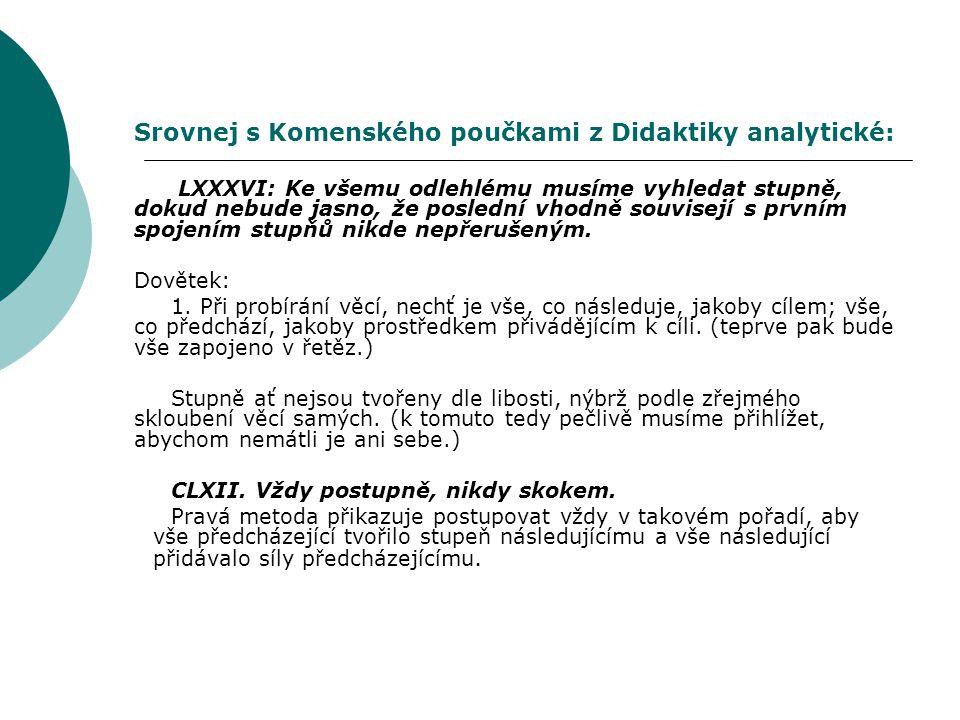 Srovnej s Komenského poučkami z Didaktiky analytické: