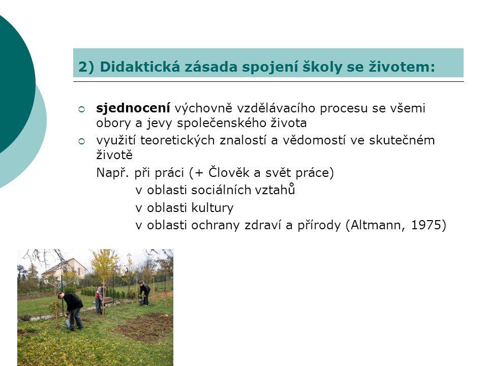 2) Didaktická zásada spojení školy se životem: