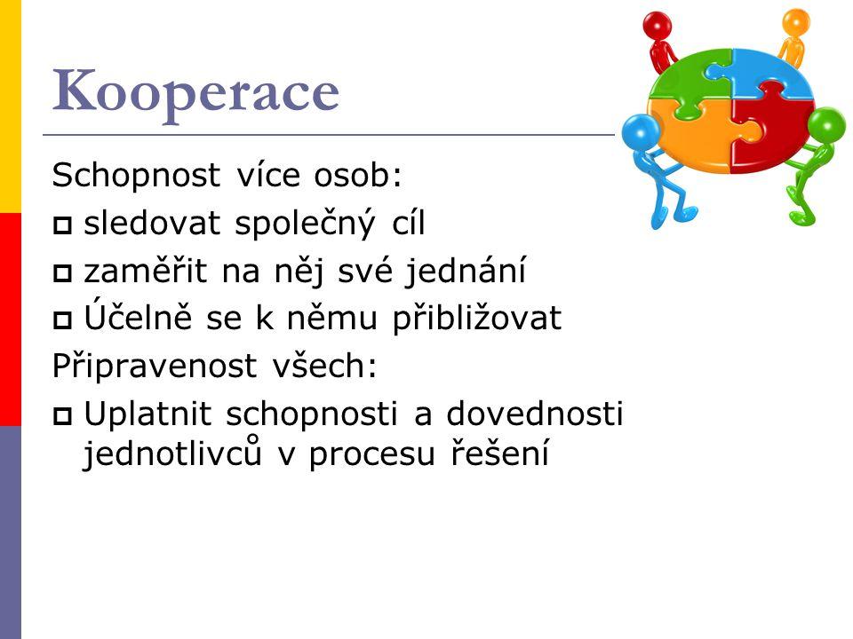 Kooperace Schopnost více osob: sledovat společný cíl