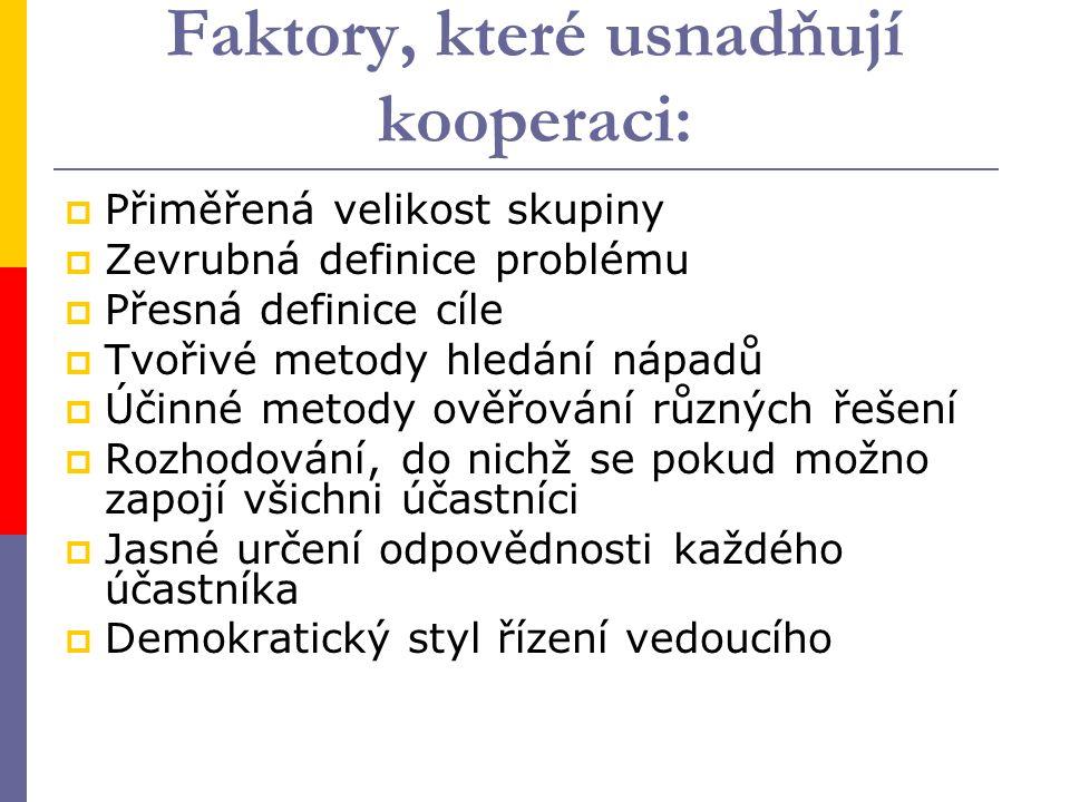 Faktory, které usnadňují kooperaci: