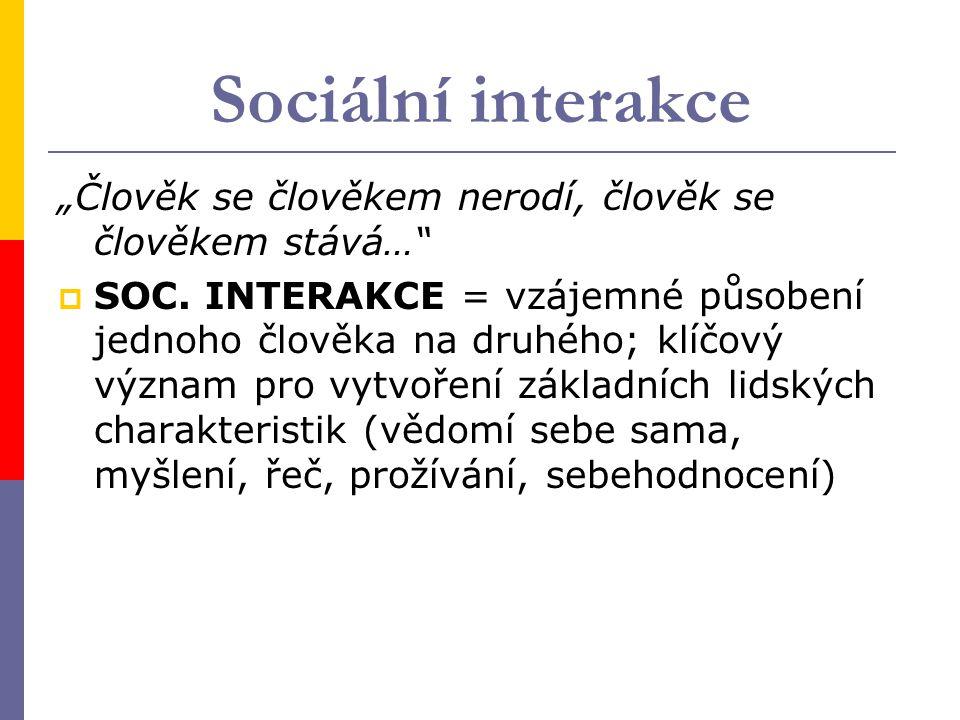 """Sociální interakce """"Člověk se člověkem nerodí, člověk se člověkem stává…"""