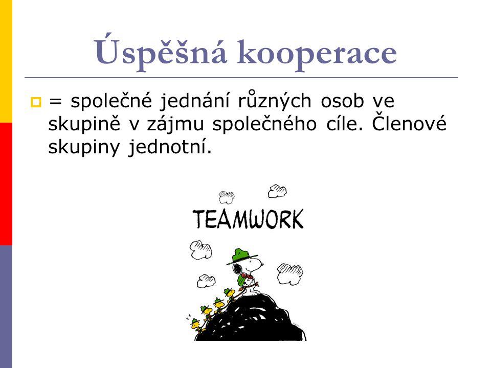 Úspěšná kooperace = společné jednání různých osob ve skupině v zájmu společného cíle.