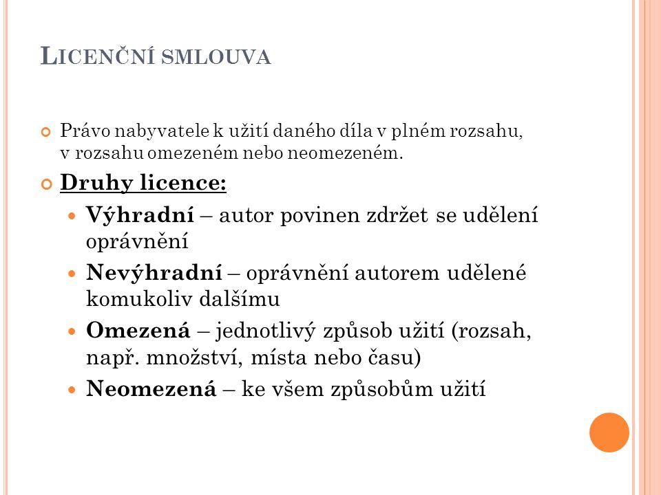Licenční smlouva Druhy licence: