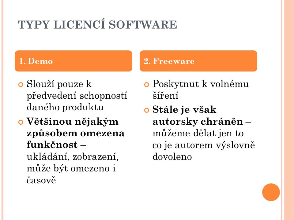 TYPY LICENCÍ SOFTWARE 1. Demo. 2. Freeware. Slouží pouze k předvedení schopností daného produktu.