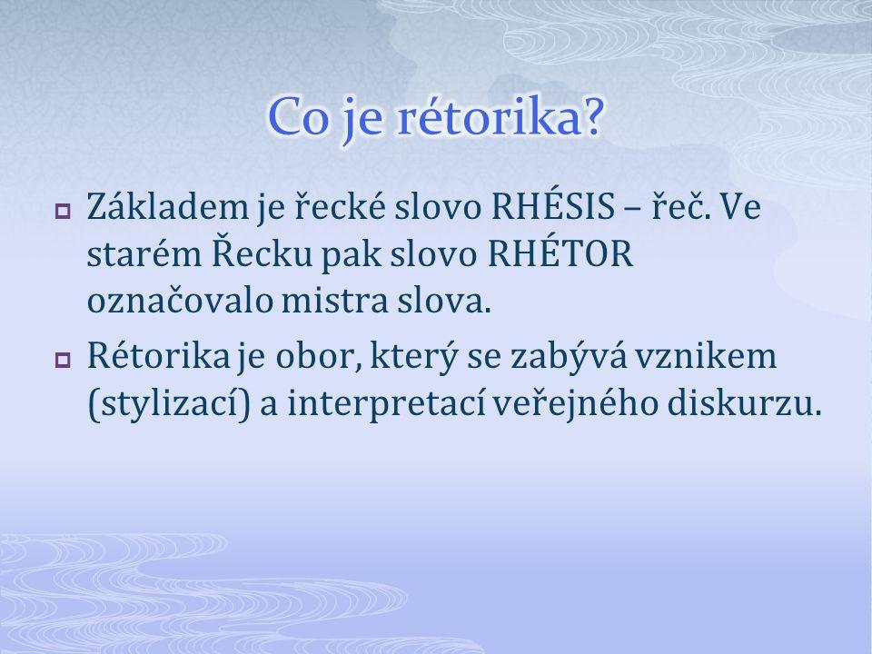 Co je rétorika Základem je řecké slovo RHÉSIS – řeč. Ve starém Řecku pak slovo RHÉTOR označovalo mistra slova.