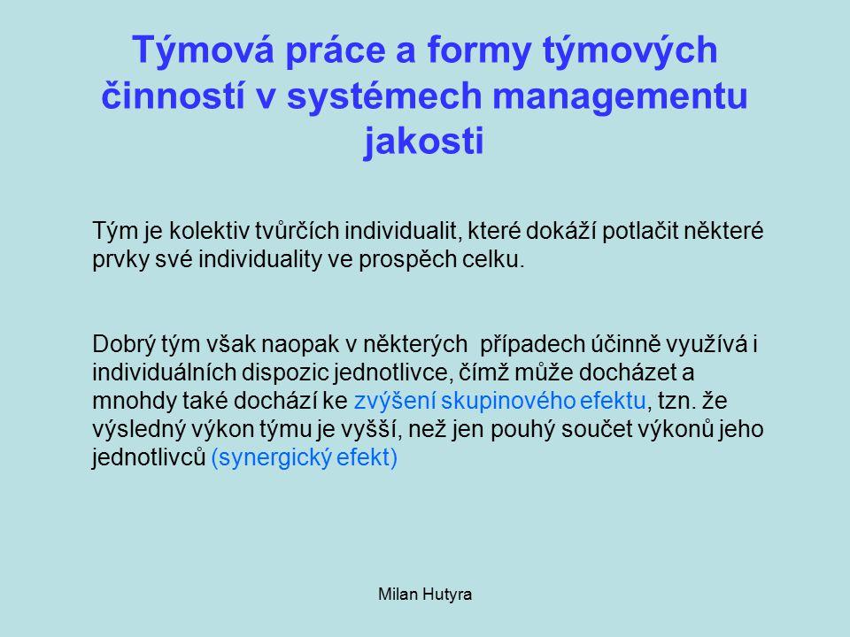Týmová práce a formy týmových činností v systémech managementu jakosti