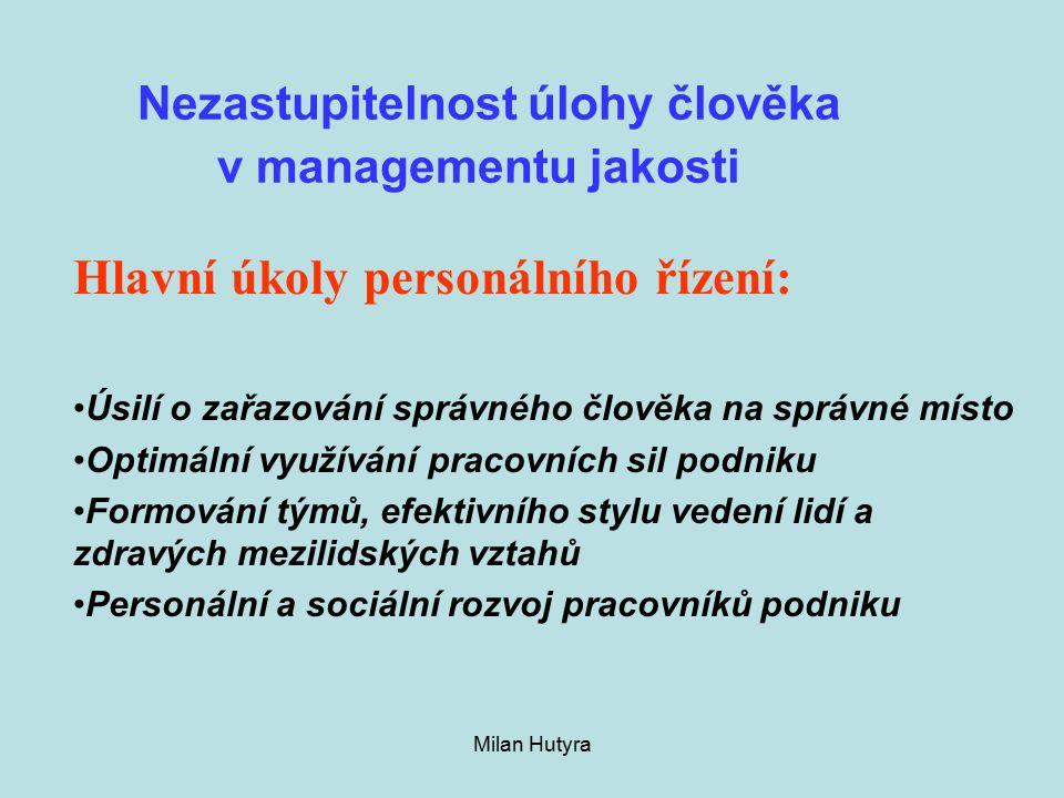 Nezastupitelnost úlohy člověka v managementu jakosti