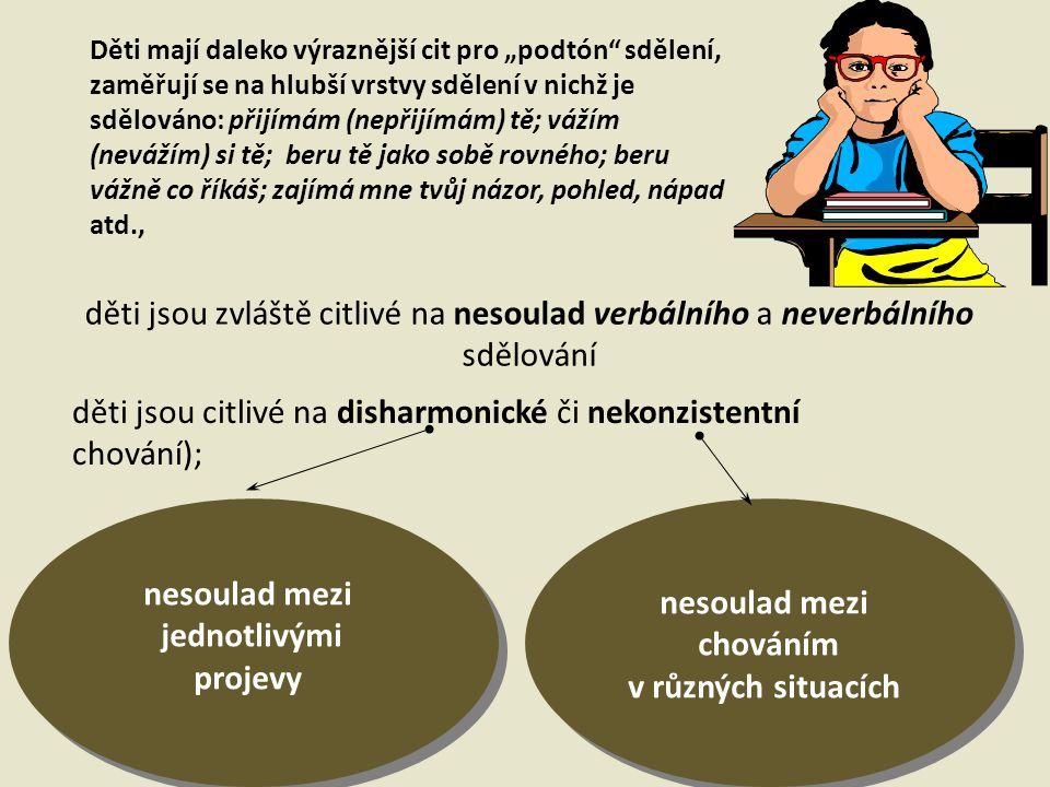 děti jsou citlivé na disharmonické či nekonzistentní chování);