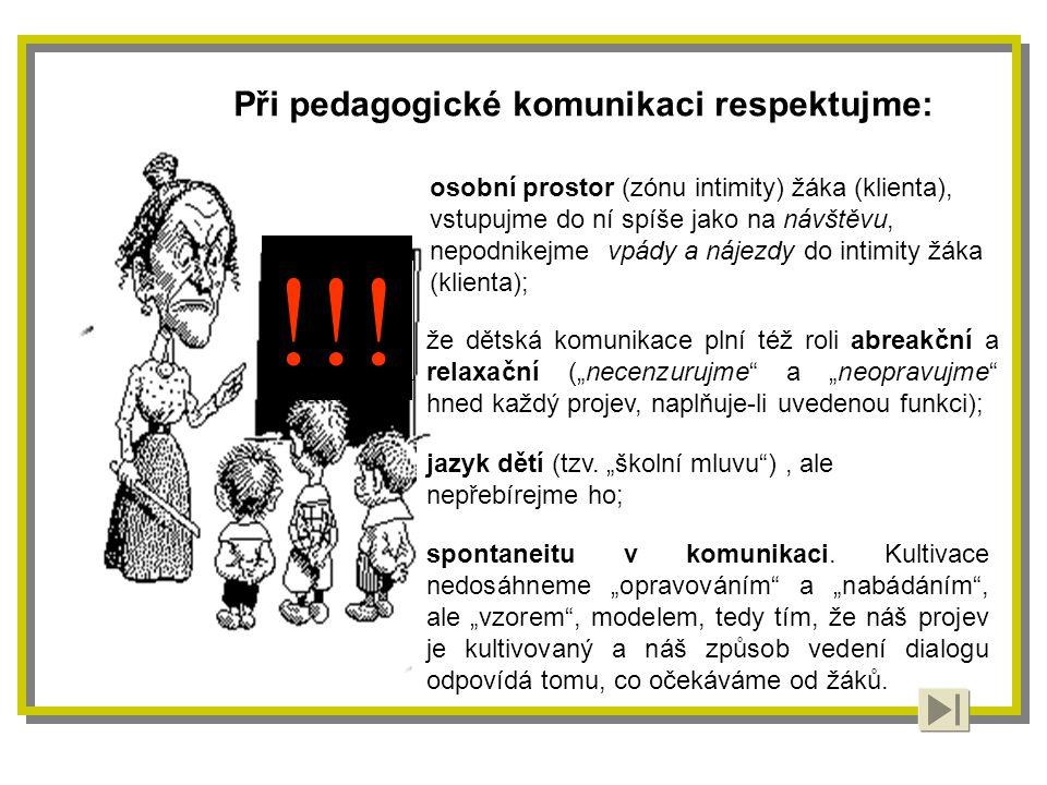 !!! Při pedagogické komunikaci respektujme: