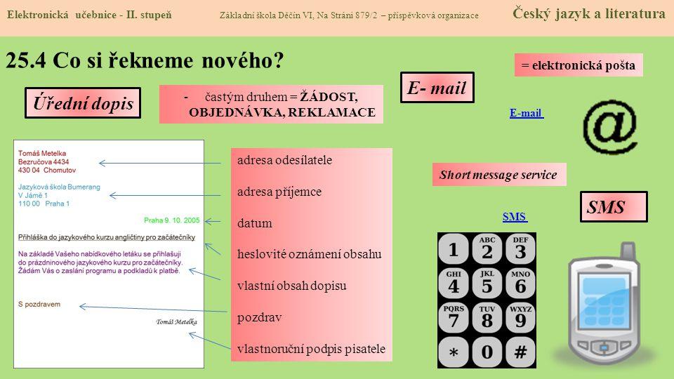 25.4 Co si řekneme nového E- mail Úřední dopis SMS