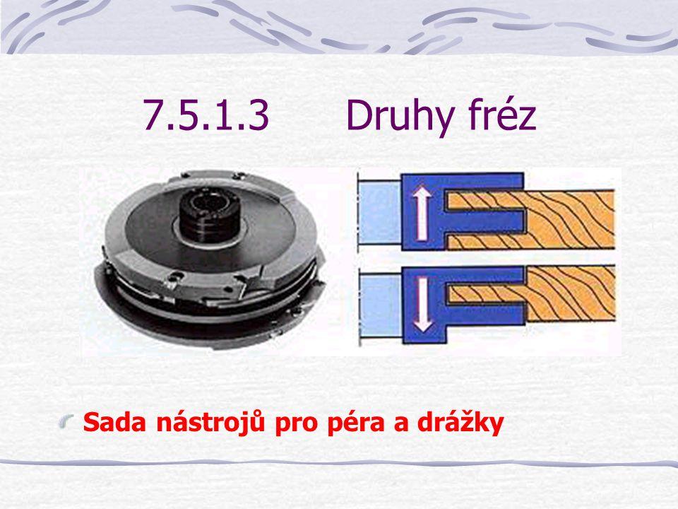 7.5.1.3 Druhy fréz Sada nástrojů pro péra a drážky