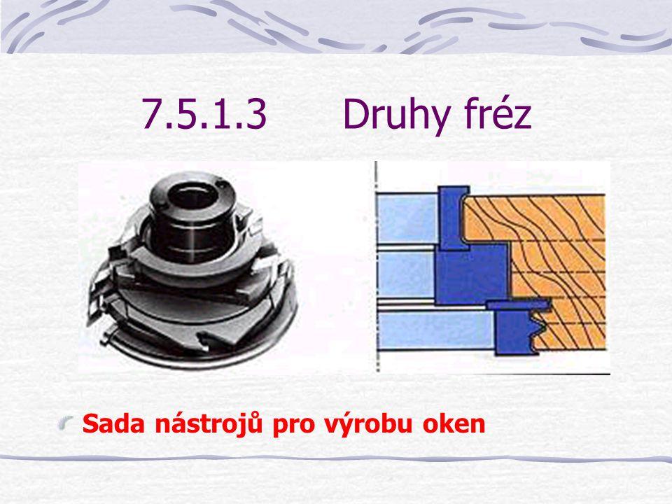 7.5.1.3 Druhy fréz Sada nástrojů pro výrobu oken