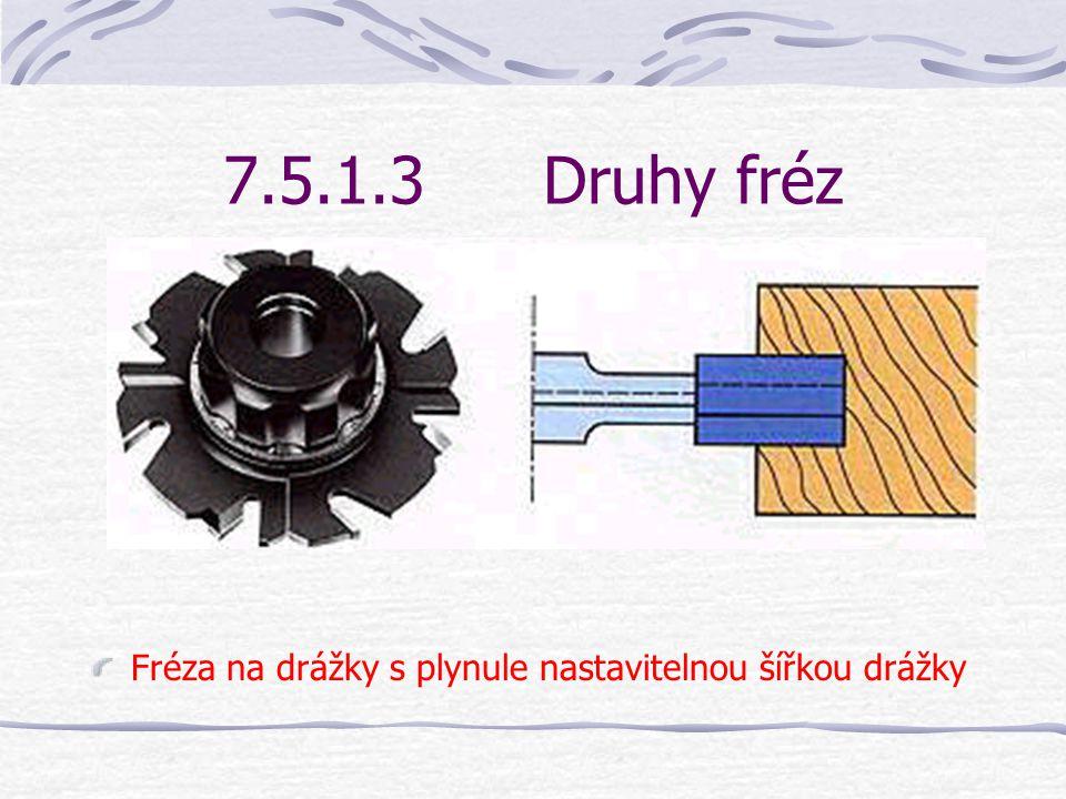 7.5.1.3 Druhy fréz Fréza na drážky s plynule nastavitelnou šířkou drážky