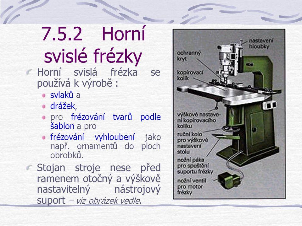 7.5.2 Horní svislé frézky Horní svislá frézka se používá k výrobě :