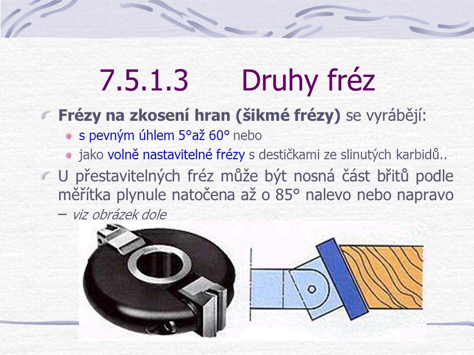7.5.1.3 Druhy fréz Frézy na zkosení hran (šikmé frézy) se vyrábějí: