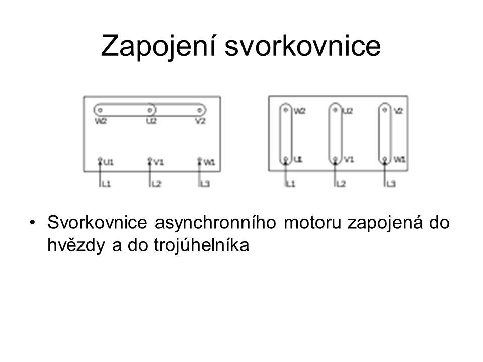 Zapojení svorkovnice Svorkovnice asynchronního motoru zapojená do hvězdy a do trojúhelníka