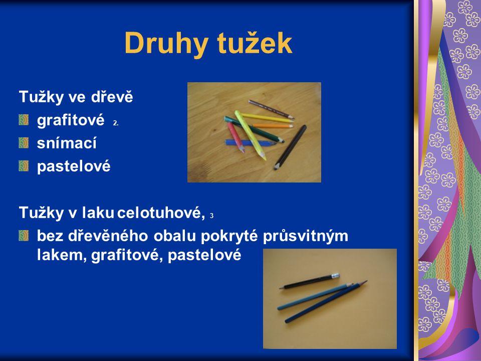 Druhy tužek Tužky ve dřevě grafitové 2. snímací pastelové