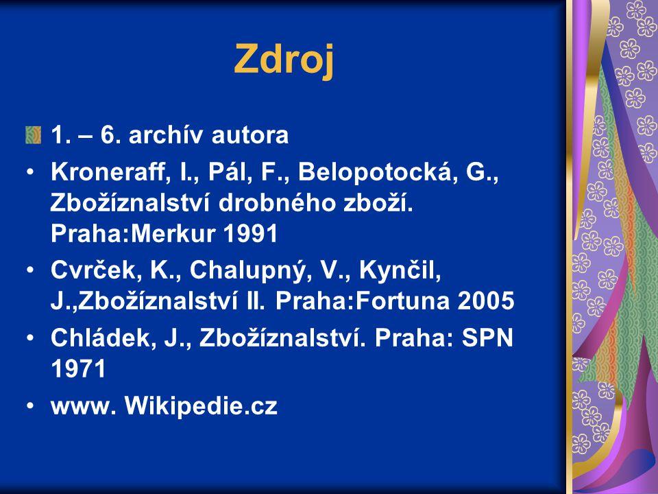 Zdroj 1. – 6. archív autora. Kroneraff, I., Pál, F., Belopotocká, G., Zbožíznalství drobného zboží. Praha:Merkur 1991.
