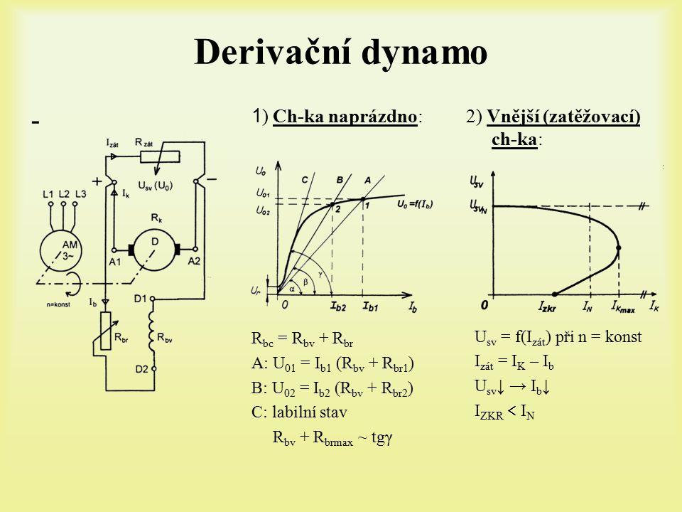 Derivační dynamo - 1) Ch-ka naprázdno: 2) Vnější (zatěžovací) ch-ka: