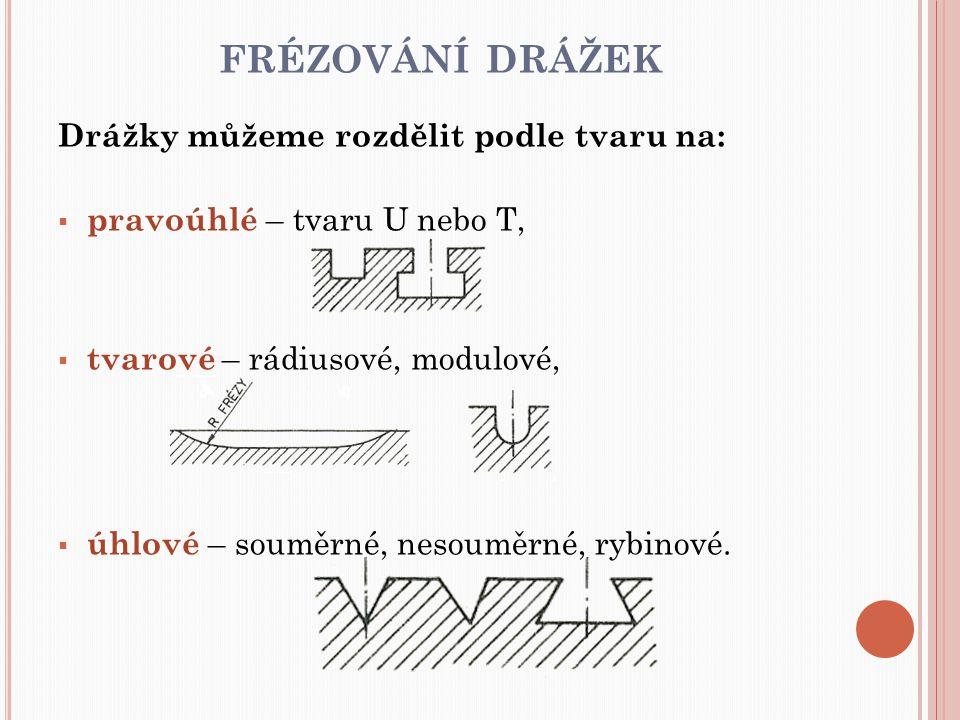 frézování drážek Drážky můžeme rozdělit podle tvaru na: