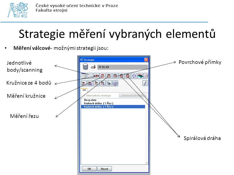 Strategie měření vybraných elementů