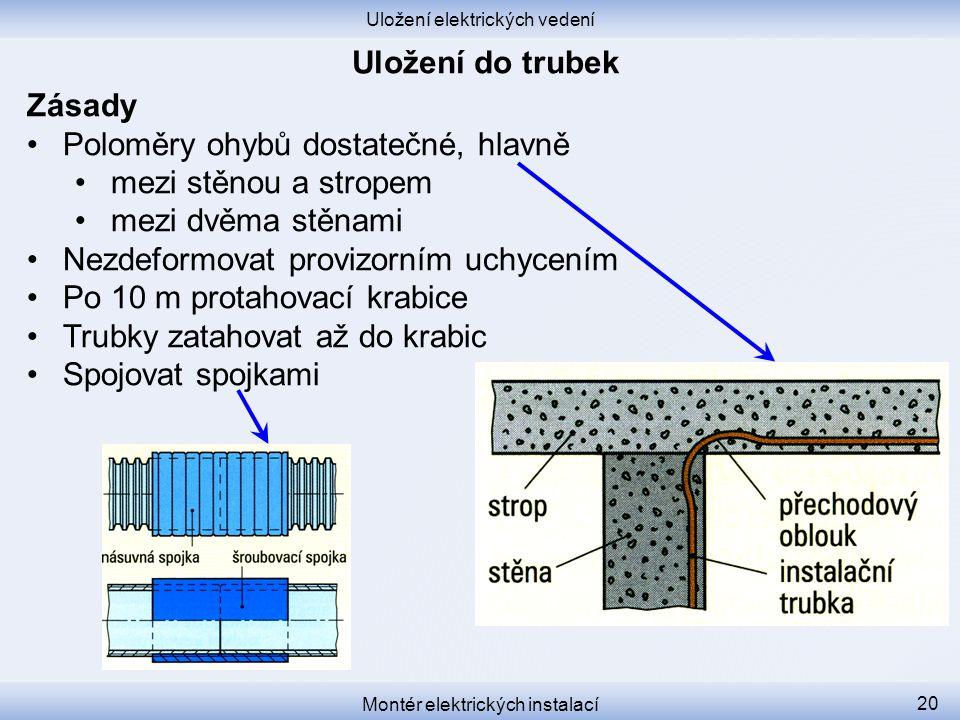 Poloměry ohybů dostatečné, hlavně mezi stěnou a stropem
