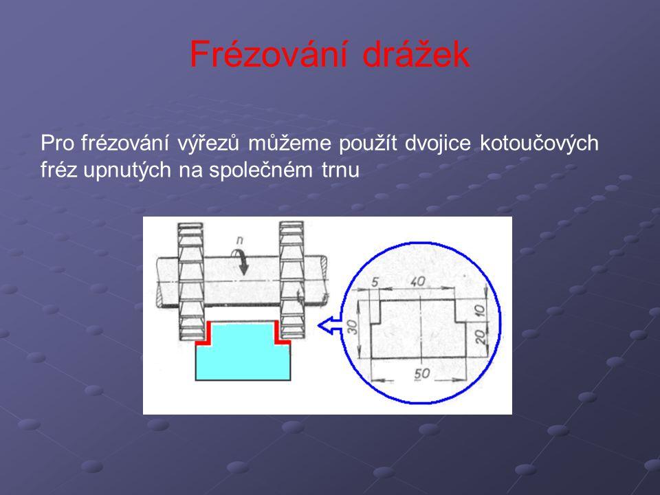 Frézování drážek Pro frézování výřezů můžeme použít dvojice kotoučových fréz upnutých na společném trnu.