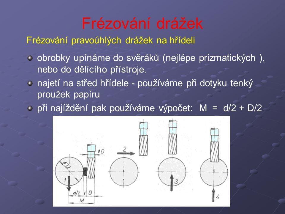 Frézování drážek Frézování pravoúhlých drážek na hřídeli